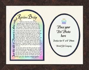 "Pet Memorial Photo Frame with Rainbow Bridge Poem Gift Art 9"" X 11"""