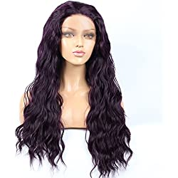 "WigQueen 250% Density KANEKALON Synthetic Lace Front Nature Wave Heat Resistant Glueless Pre Plucked Free Part Wigs with Baby Hairs for All Skin Tone Women(26"" Deep Purple)"
