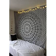 Indian-hippie-decor Bohemian-psychedelic-dorm Elephant-mandala Wall-hanging-tapestry-black-and-white Queen-size-large-84x90