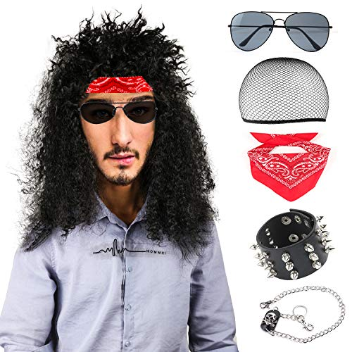 Beelittle 80s Mens Long Curly Black Hard Rocker Wig Costume Set Heavy Metal Halloween Themed Party Wig Accessories (B) ()