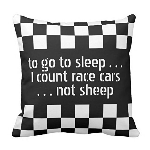 Cool Black White Formula 1 Checkered Flags Pattern Throw Pillow Cover 18x18 UJJOP 18*18