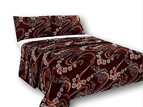 Tache Gold Paisley Brown Floral Flat Sheet Only - Melted Gold Brown - Luxurious Microfiber Top Bed Sheet with Pillowcases - 3 Piece Set - King