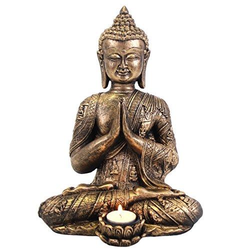 Giftbrit Large Buddha tealight holder, Gold, Bronze