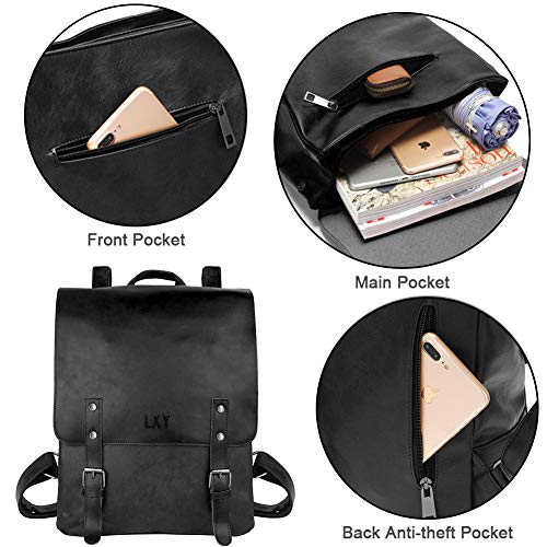 LXY Vegan Leather Backpack Vintage Laptop Bookbag for Women Men