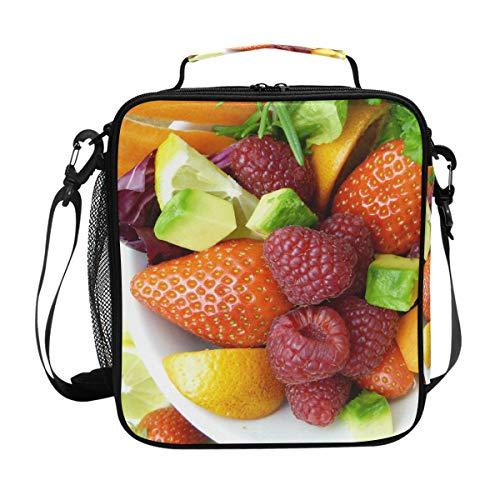 Lunch Box Bag Insulated Lunch Tote Fruits Salad Strawberry Mulberry Vegetables Thermal Cooler Shoulder Strap Portable Food Container Travel Office School Picnic For Women Kids Children
