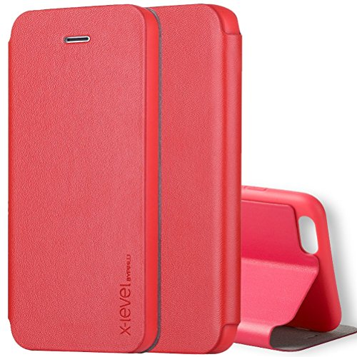 "iPhone 6S Plus Hülle, HICASER UltraSlim Premium Soft Leder Klappetui Schutzhülle für Apple iPhone 6 Plus / 6S Plus 5.5"" [Full Body] Handyhülle Stoßdämpfende Case mit Standfunktion Rot"