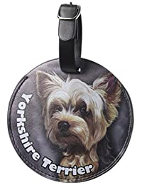 Graphics & More Yorkshire Terrier Yorkie perro perro redondo de piel etiqueta de identificación de equipaje veliz de transporte, Multi color, Tala Única