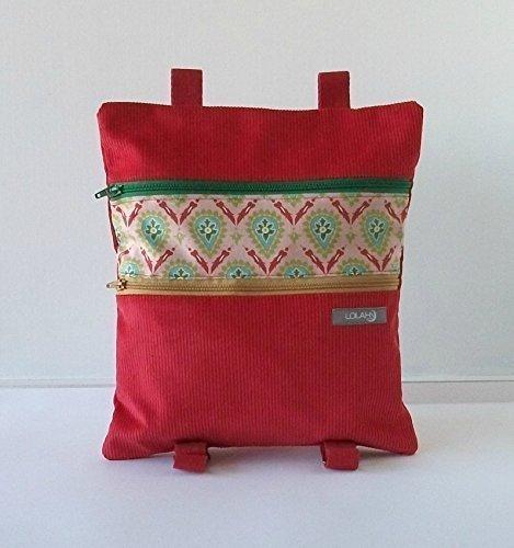 Mochila Roja, hecha a mano en pana y algodón estampado