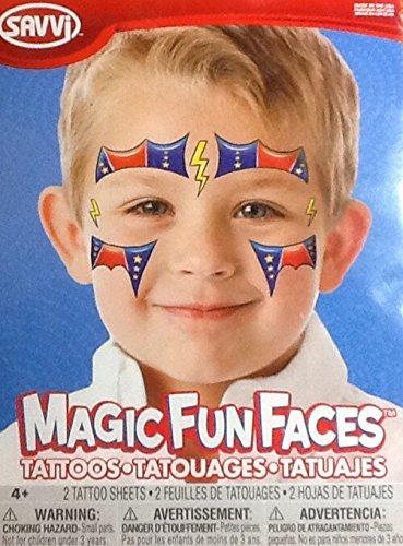 Temporary Tattoos ~ Superhero Magic Fun Faces ~ 2 Sheets ()