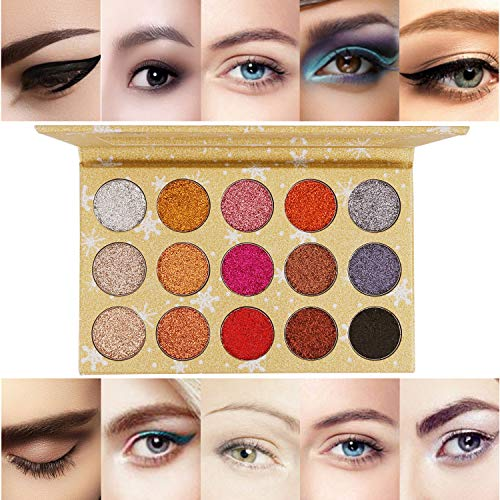 ELEVEN EVER 15 Colors Glitter Eyeshadow Palette, Professional Highly Pigmented and Long-Lasting Mineral Shimmer Makeup Pallet (Gold) by ELEVEN EVER (Image #1)