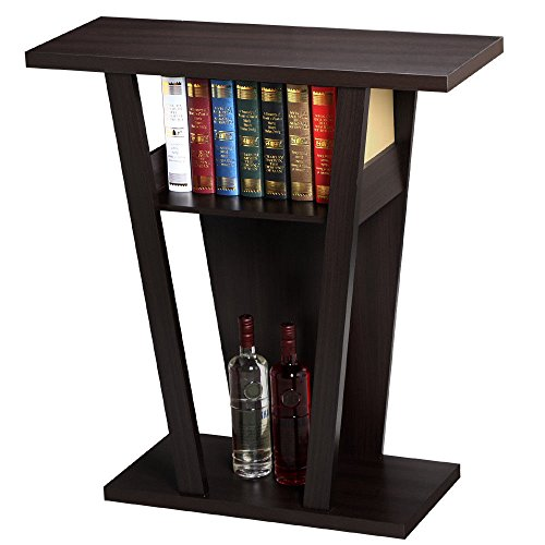 Espresso Console Table Accent Sofa Side End Stand Entry Way Hallway Modern Display Shelf - Table Glass Demilune Console