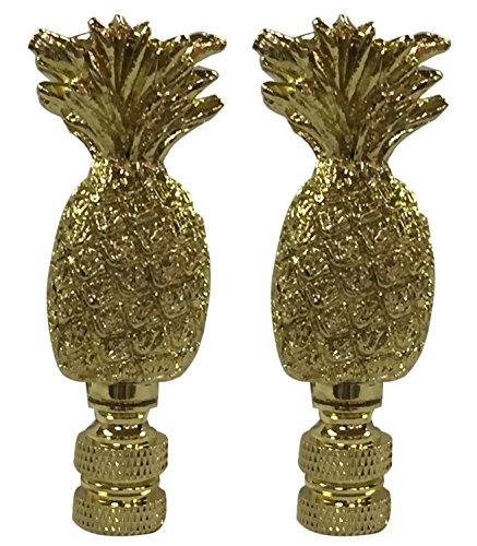 Royal Designs Trendy Resort Pineapple Lamp Finial for Lamp Shade- Polished Brass Set of 2