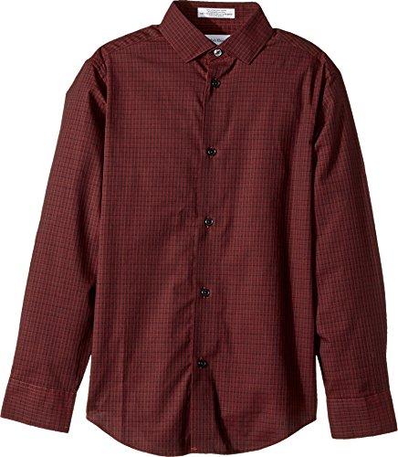 Calvin Klein Big Boys' Long Sleeve Gingham Woven Shirt, Norton Dark Red, 10