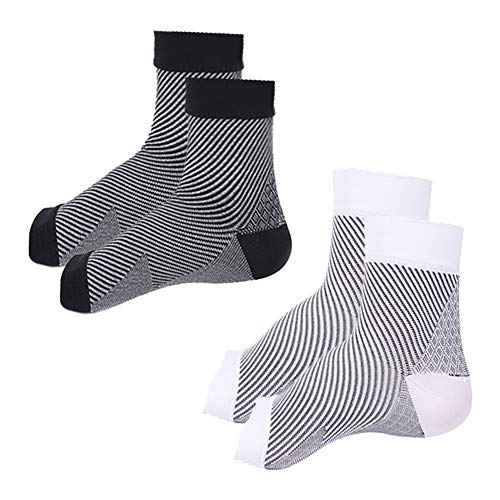 ZFiSt Foot Sleeve Plantar Fasciitis Compression Sock Men Women,2Pair Sport Foot Brace Ankle Support Ease Achilles Tendonitis,Foot Swelling, Heel Spurs, Arch Pain,Fatigue (Black+White, S-M)