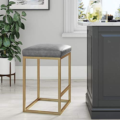 "Nathan James 22103 Nelson Bar Stool with Leather Cushion and Metal Base, 24"", Gray/Gold"