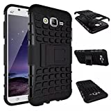M.G.R Hard Armor Hybrid Rubber Bumper Flip Stand Rugged Back Case Cover for Samsung Galaxy J2 - Black