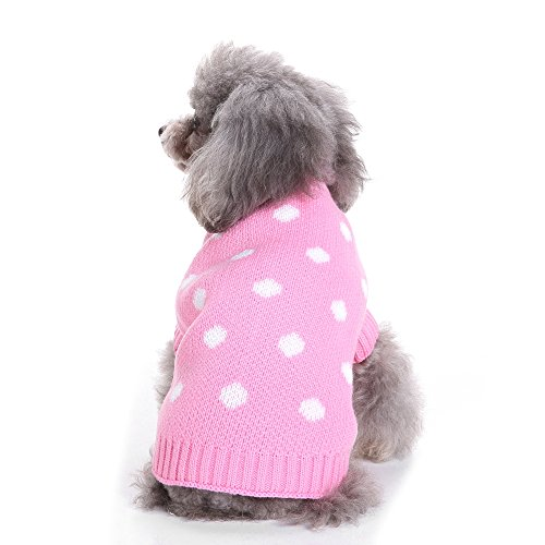Ribbed Dot (Clothes Sweatshirt For Dogs Hoodie Sweater Inspired Chic Dot Ribbed Knit Small Dog Sweater S 7.5