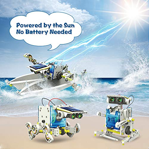 KIDCHEER STEM 13-in-1 DIY Solar Robot Toys Science Experiment Kit for Kids 8+ Educational Solar Building Set Indoor Outdoor Toys for Boys and Girls