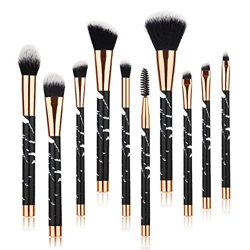 Beauty Kate Marble Makeup Brushes (Black), 10 PCS Makeup Brush Set Premium Face Eyeshadow Eyebrow Blush Contour Foundation Fluffy Crease Cosmetic Brush Set for Powder Liquid Cream