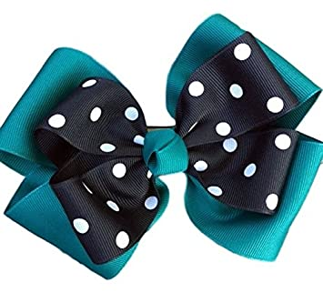 9295dcf014a7 Amazon.com   Victory Bows Polka Dot Double Quad Grosgrain Hair Bow- The  Siena Marie Teal and Black- Made in the USA French Clip   Beauty
