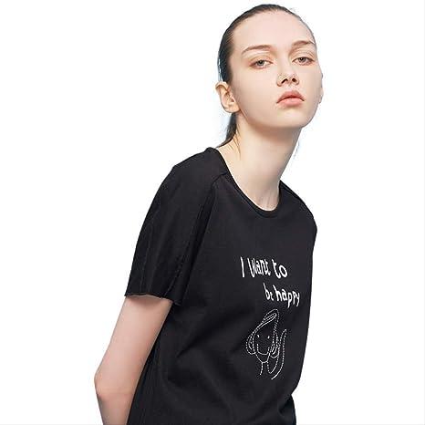 JDBUVYKF Manga Corta para Mujer Bordado De Verano De Impresión Tops Algodón Suelto Camiseta Manga Corta con Estilo Camisetas para La Vida Cotidiana: Amazon.es: Deportes y aire libre