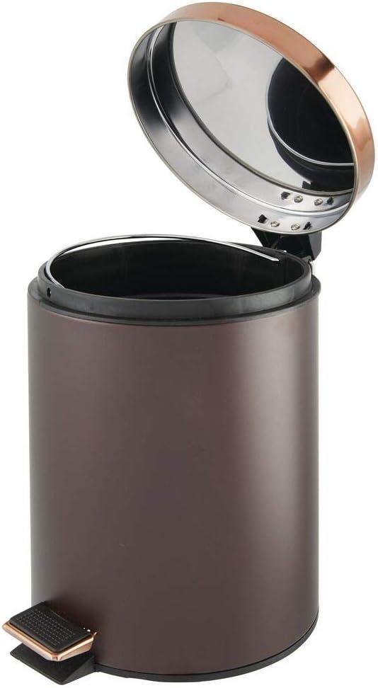 Craft Room Garbage Container Bin Bedroom mDesign 5 Liter Round Small Metal Step Trash Can Wastebasket Kitchen Office Removable Liner Bucket for Bathroom Bronze//Rose Gold Powder Room