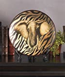 Elephant Safari Animal Zebra Stripe Print Plate with Easel Decor Majestic African Wild Tribal Home Accent Charger Black Brown Decoration