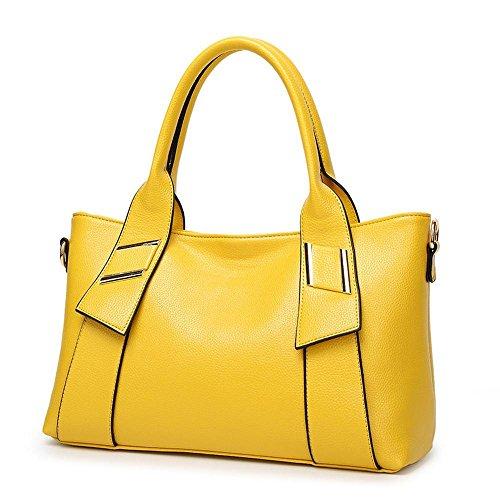 Penao Moda señora Yellow bolso tamaño mensajero Litchi bolso 36cmx12cmx22cm tatuaje 11zwYqdr