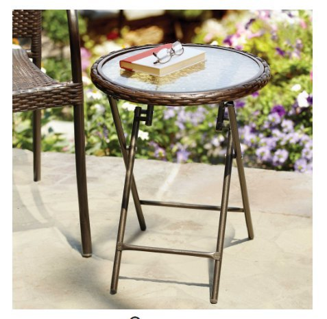 Stratford Wicker Folding Accent Table in Bronze with Tempered Glass (Bronze Loveseat)
