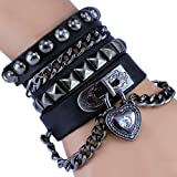 Rivet Bracelet Punk Rock Multi Circle I Love You Heart Chain Genuine Leather Unisex for Men and Women