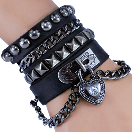 I+Love+You+Heart+Trendy+Dark+Black+Wide+Cuff+Leather+Strap+Bracelet+Multi+Circle+Rivet+Chain+Double+2x+Wrap