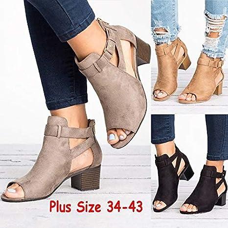 Fashion Women's Platform Open Toe Ankle Strap Zipper Back