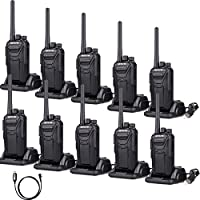 Retevis RT27 2 Way Radios Walkie Talkies Vox Scrambler FCC Certification License-free Security Two way radio(Black,10 pack) and Programming Cable