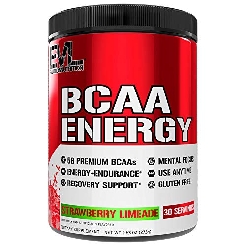 Evlution Nutrition BCAA Energy – High Performance Amino Acid Supplement for Anytime Energy, Muscle Building, Recovery and Endurance, Pre Workout, Post Workout (Strawberry Limeade, 30 Servings)