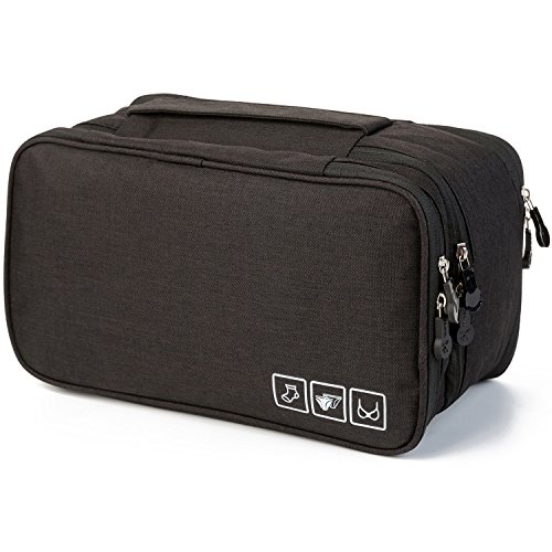 MODARANI Portable Bra Underwear Organizer Travel Toiletry Bag Makeup Organizer Case Black by MODARANI