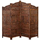 4 Panel Moroccan Style Hand Carved Solid Wood Screen Room Divider, Brown Finish