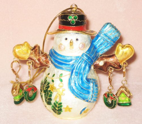 Christmas Ornament Cloisonne Snowman Earring Stand with 2 Pairs of Cloisonne Earrings ()