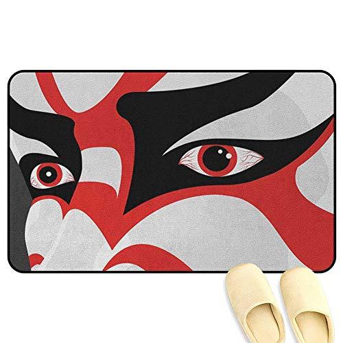 homecoco Kabuki Mask Outdoor Door Mats Japanese Drama Theme Kabuki Face with Dramatic Eyes Cultural Theater Black White Orange 3D Digital Printing Mat W47 x L59 INCH