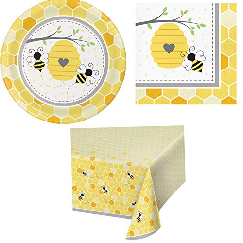 Olive Occasions Bumble Bee Disposable Paper Party Supplies 16 Plates, 16 Napkins, Table Cover and Grandma Olive's Recipe -