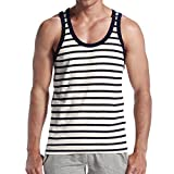 Jiayit Men Men's Daily Casual Tank Top Summer Strip Vest Fashion Outdoor Hiking Holiday Sport Vests Streetwear Tank Tops Blouse T-Shirt