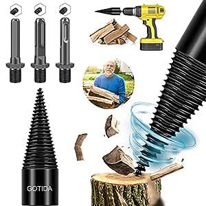 4PCS Wood Log Splitter Firewood Drill Bit,Kindling Splitter Splitting Removable Logs Splitters Electric Drills Bits Heavy Duty Screw Cone Driver Hex+Square+Round (32mm)