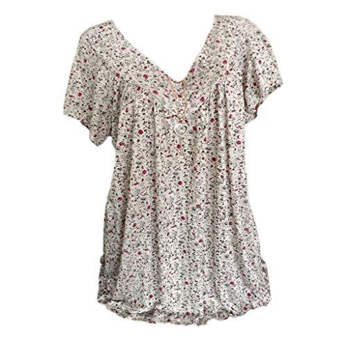 Women Blouses Plus Size Short Sleeves V-Neck Print Tops Shirt Tee for Ladies Summer White ()
