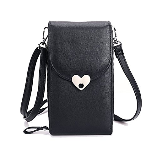 Pouch Women Purse With Crossbody Bag Storage Samsung 5 5 Card iPhone Under Inch For Cell Wallet Phone Smartphone Girls Credit 186 Holder Leather black PU vwYqvxr