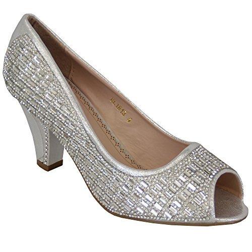 Sandal House Ladies Peep Toe Womens Sandals Mid Heel Diamante Bridesmaid Slip On Wedding New Silver - Bl1813 UWKGV