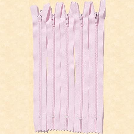 10 Nylon Zippers 22 Inches #3 Coil Closed Bottom Color 512 Light Pink 10 Zippers