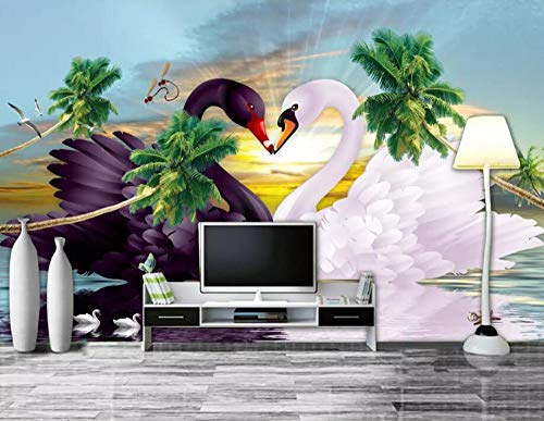 (Wall Mural 3D Swan Lake Aestheticism Modern Custom Photo Wallpaper Murals Wall Decor)