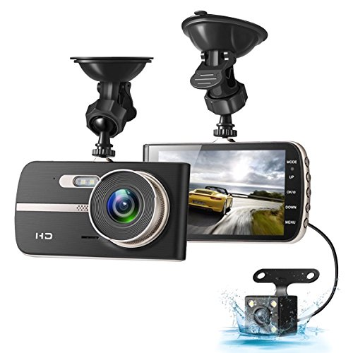 Dash Cam, EIVOTOR 1080P HD Dual Channel Dashboard Cameras Front and Rear, Driving Video Recorder with 4.0 IPS Screen, Built in G-Sensor, Motion Detection, Loop Recorder