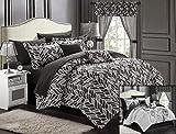 Chic Home 20-Piece Olivia Reversible Comforter Set, Queen, Black/Grey