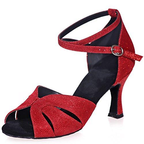 Donna da Glitter 7 Heel Samba Satin Elobaby Jazz Scarpe Ballo Ballroom Red Latin 5cm Buckle da A8349 X5ffwITq