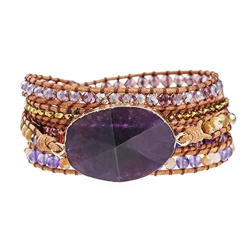 (IUNIQUEEN Leather Amethyst Druzy Boho 5 Wrap Purple Unique Bead Bracelet Jewelry for Women Girl)